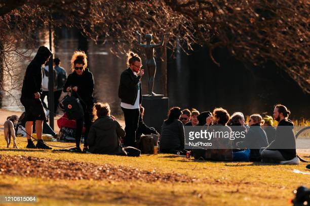 People gathered to spend time in the sunny weather at the Sorsapuisto public park in Tampere, Finland on April 21, 2020. The Finnish government has...
