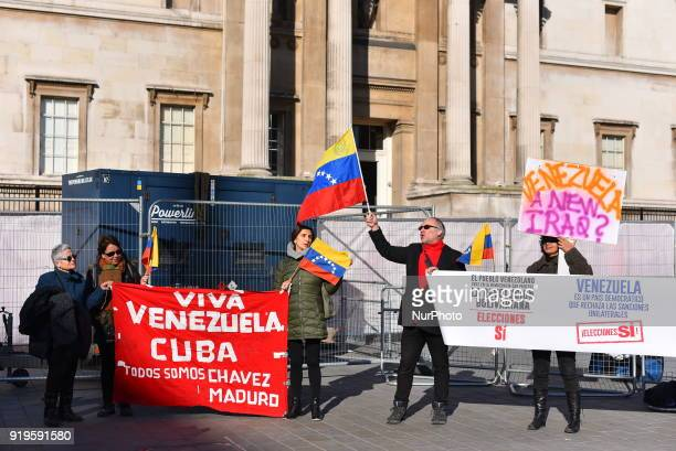 People gathered waving Vemezuelan flags to protest in support of Venezuelas president Nicolas Maduro and against the media at Trafalgar Square London...