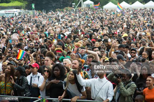 People gathering at the UK Black Pride in Haggerston Park in London, United Kingdom, on July 7th, 2019.