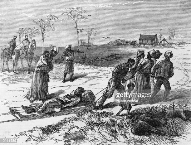 Blacks gathering dead and wounded from the 'Colfax Massacre', Louisiana. Published in Harper's Weekly, May 10, 1873.