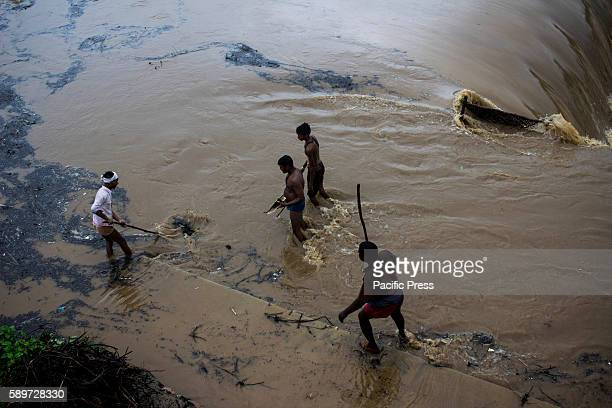 People gathering firewood from a flooded river While India is celebrating 70th Independence day with fiull spirit Prime minister Narendra Modi...