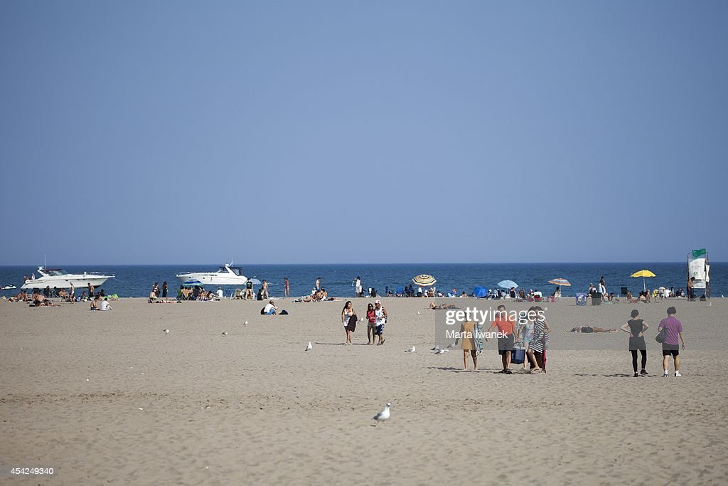 TORONTO, ON - AUGUST 26 - People go to cool off at Woodbine Beach in Toronto, August 26, 2014.