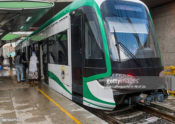 People going inside train of ethiopian railways constructed by china, addis abeba region, addis ababa, Ethiopia on March 7, 2016 in Addis Ababa,...