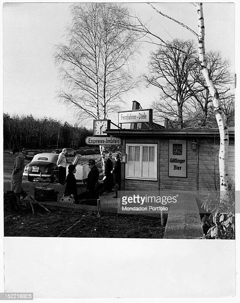 People going to a refreshment stand on the border with East Germany Federal Republic of Germany 1950s