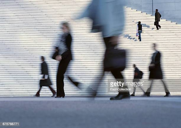 People going to work at business district of Paris