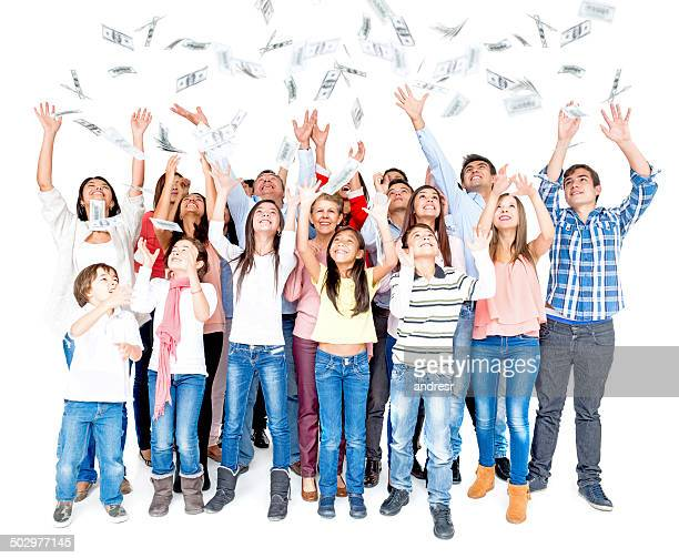 people grabbing money - family dollar stock pictures, royalty-free photos & images