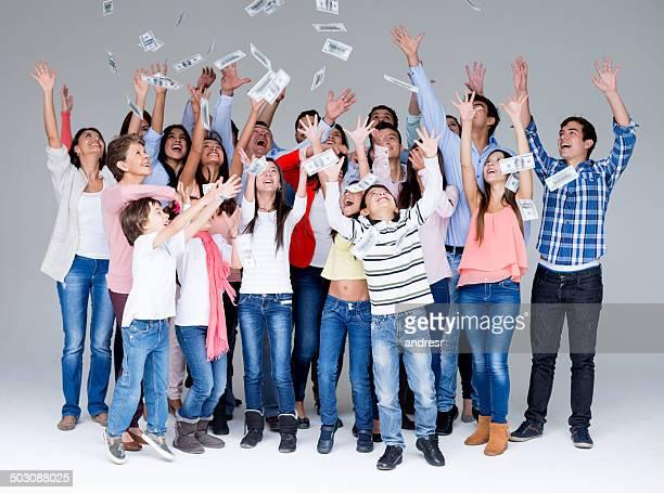 People grabbing money