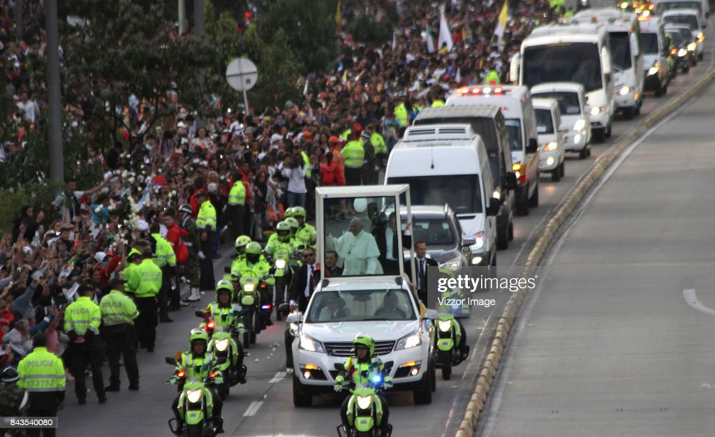 Pope Francis Arrives To Bogota : News Photo