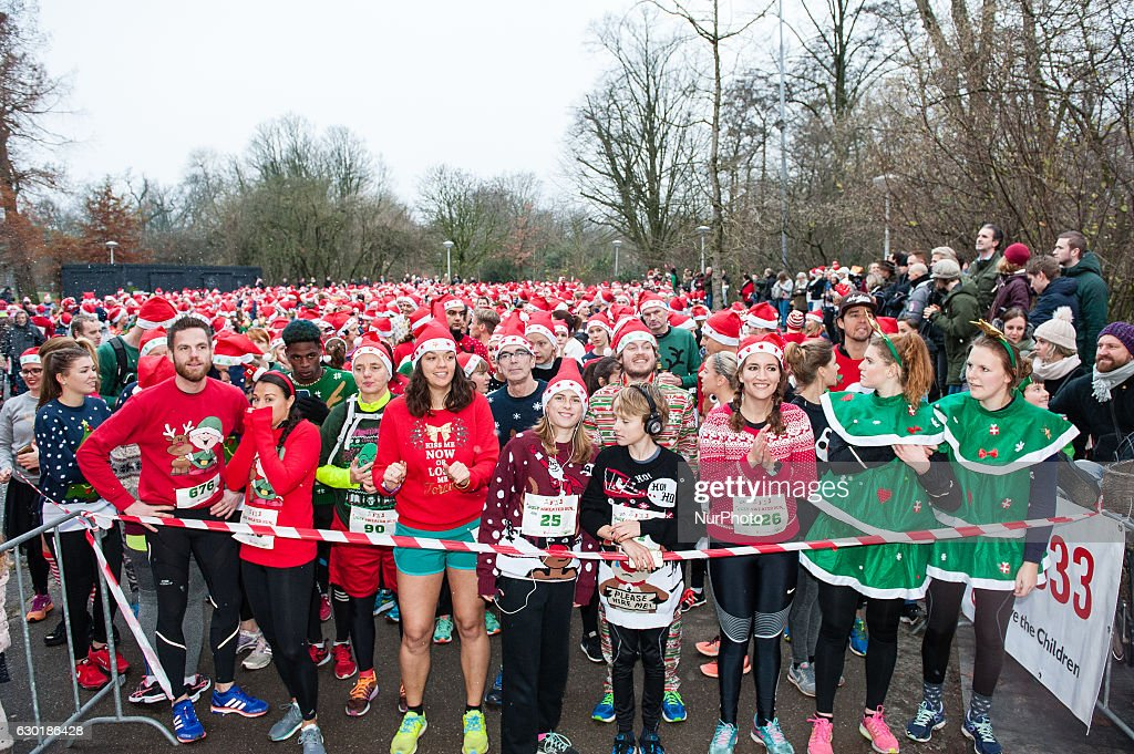 Ugly sweater run in Amsterdam : News Photo