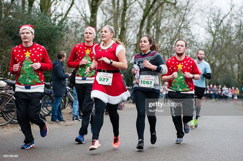 Ugly sweater run in Amsterdam : News Photo