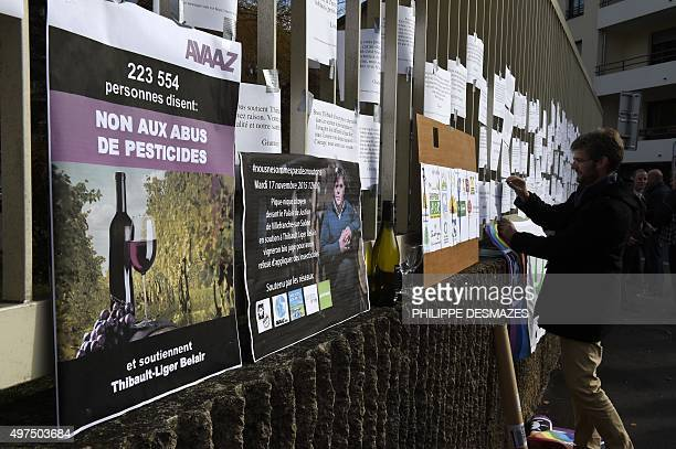 People hang papers bearing slogans in support of a French winemaker who faces charges for Refusal of plants' treatment for not treating his wineyard...