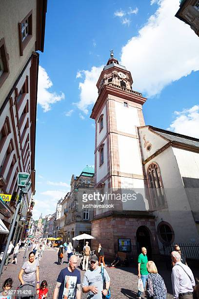 people hauptstraße and church providenzkirche in heidelberg - hauptstraße stock pictures, royalty-free photos & images
