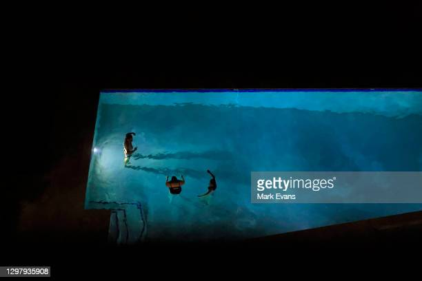 People have an evening swim in a swimming pool on January 23, 2021 in Sydney, Australia. The Bureau of Meteorology has forecast severe heatwave...