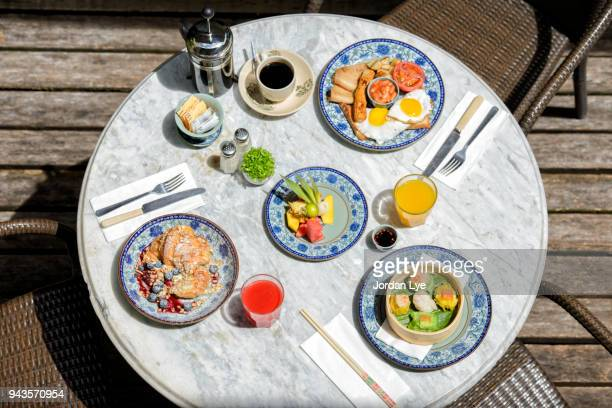 People having breakfast on a table
