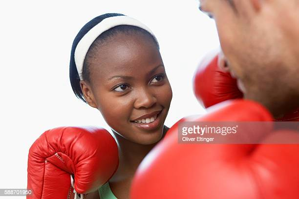 People having friendly boxing match