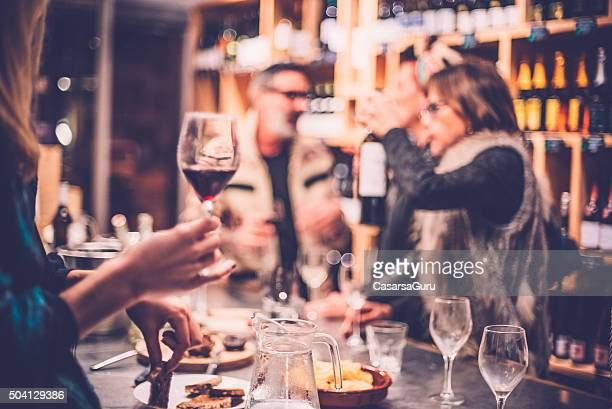 People Having Fun in a Wine Bar