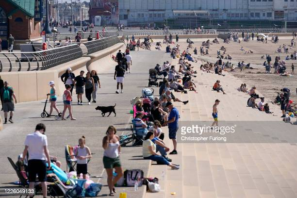 People head to the beach as England basks in sunshine on May 20 2020 in Blackpool United Kingdom Parts of the country were expected to reach 29...