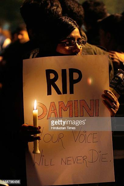 People held candle march at Jantar Mantar to mourn the death of rape victim girl on December 29 2012 in New Delhi India The girl died of injuries in...