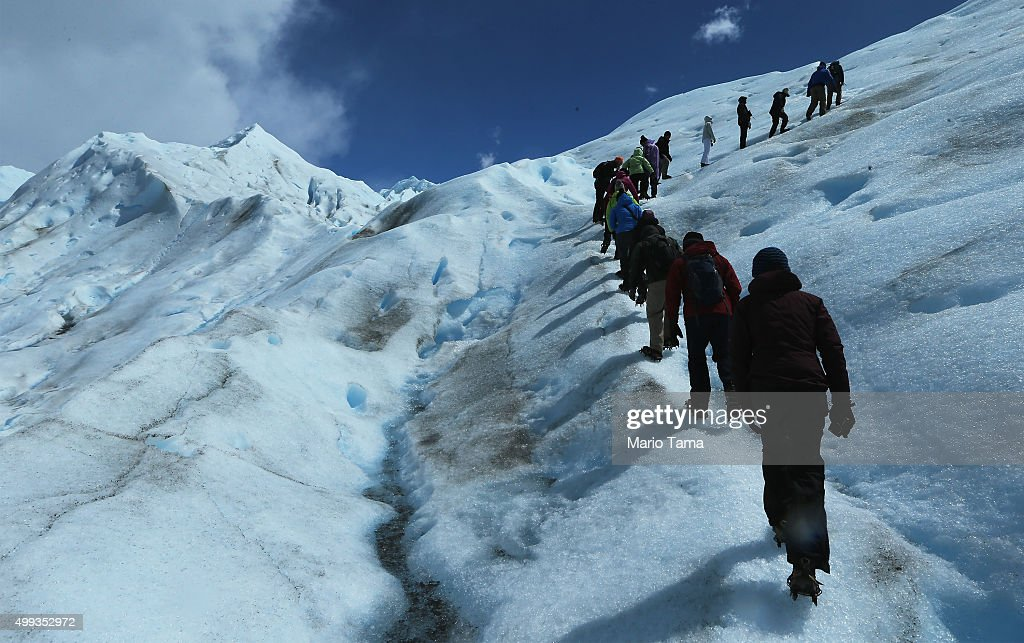 People hike on the Perito Moreno glacier in Los Glaciares National Park, part of the Southern Patagonian Ice Field, on November 30, 2015 in Santa Cruz Province, Argentina. The Southern Patagonian Ice Field is the third largest ice field in the world. The majority of the almost 50 large glaciers in Los Glaciares National Park have been retreating during the past fifty years due to warming temperatures, according to the European Space Agency (ESA). The United States Geological Survey (USGS) reports that over 68 percent of the world's freshwater supplies are locked in ice caps and glaciers. The United Nations climate change conference began November 30 in Paris.