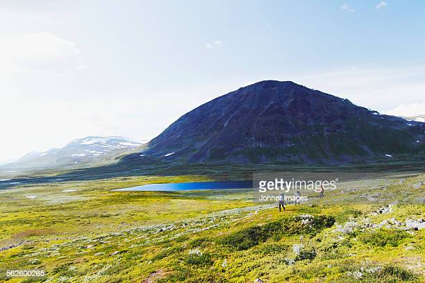 people hiking in mountains - swedish lapland stock photos and pictures