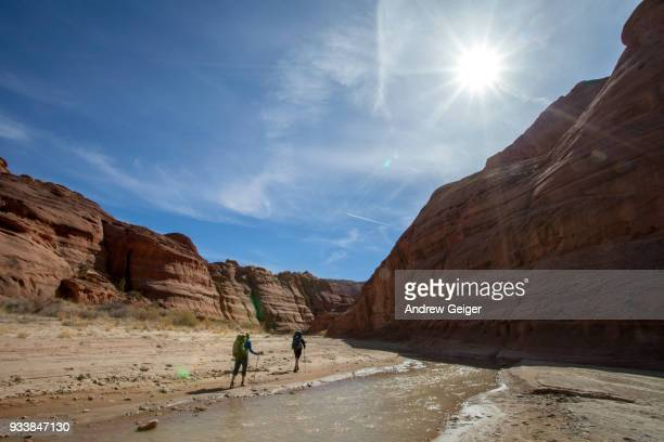 2 people hiking through landscape of deep dramatic red rock desert slot canyon along river.