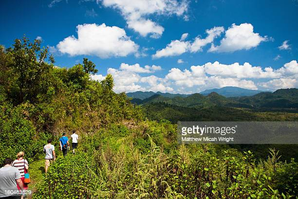 people hiking through the hilltops - northern european stock photos and pictures
