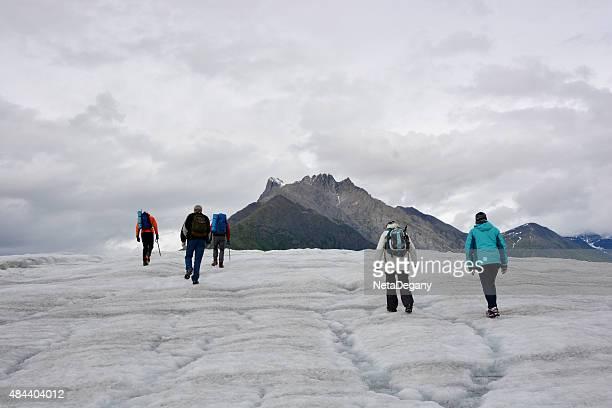 People Hiking up a Glacier, Wrangell St. Elias NP, Alaska