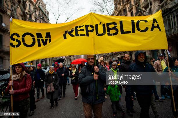 People hold a banner reading 'We are the Republic' during a demonstration titled 'The democratic and cohesive school is not afraid' organized by...