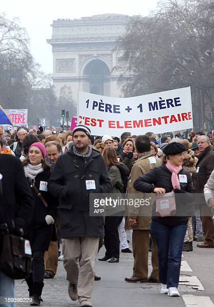 People hold a placard reading ' A father A mother it's fundamental ' during a protest organized by French farright party Front national party against...