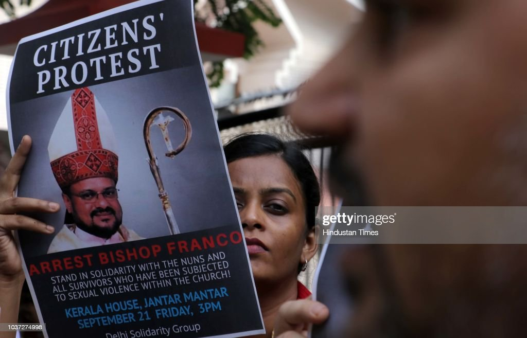 People Hold A Protest Against Bishop Franco Mulakkal For His Arrest