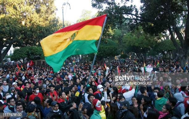 People hold a protest against the Departmental Electoral Court, following the election results, in Sucre, Bolivia on October 22, 2019. - Opposition...