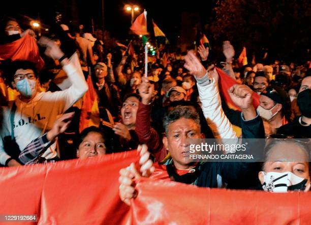 People hold a protest against the results in the country's presidential election after Luis Arce of the Movement for Socialism party claimed victory...