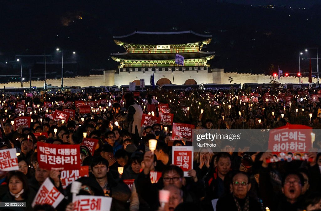 Rally Continues Against President Park In Seoul : News Photo