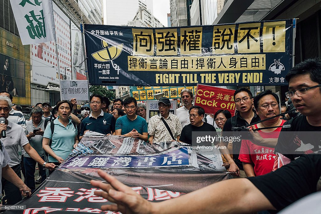 Protests In Hong Kong After Bookseller's Confession : News Photo