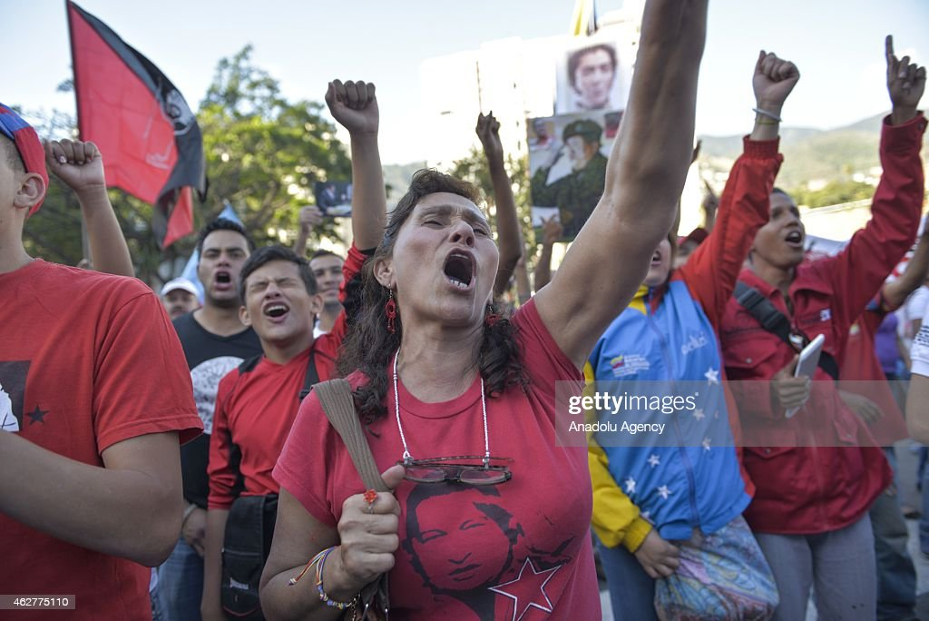 Venezuelans Hold A Parade on The 23rd Anniversary of Coup Attempt in Caracas