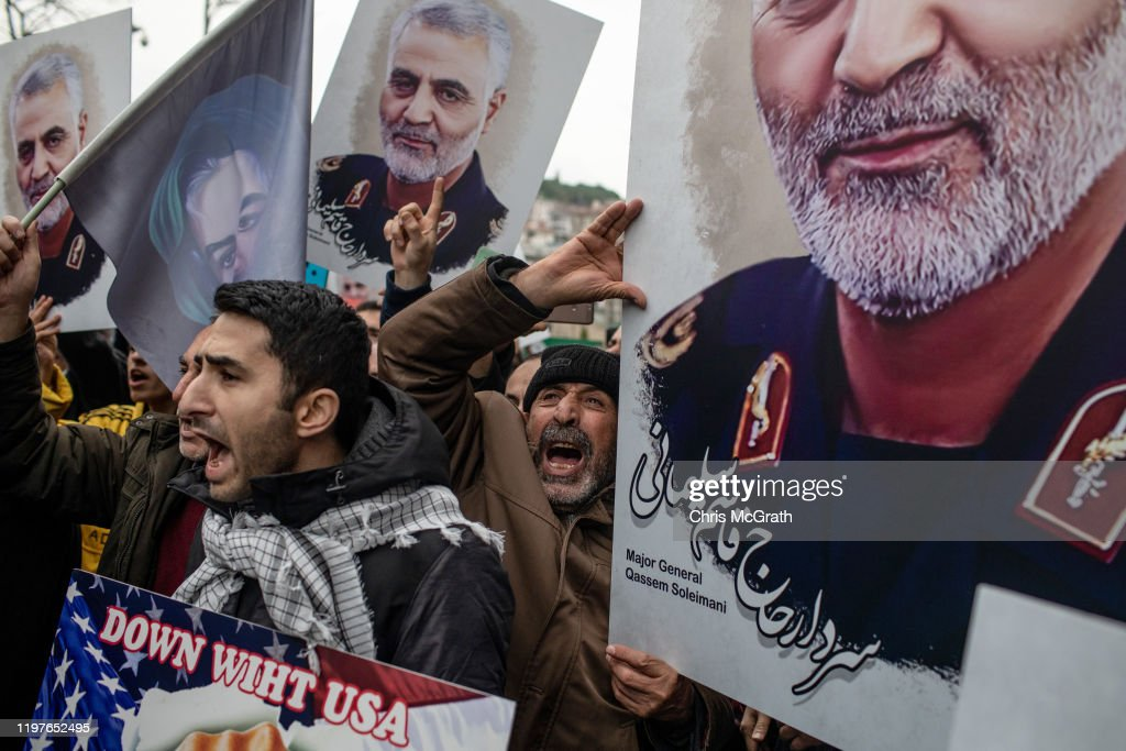 Protests At U.S. Consulate In Istanbul Following Killing Of Iranian General : News Photo