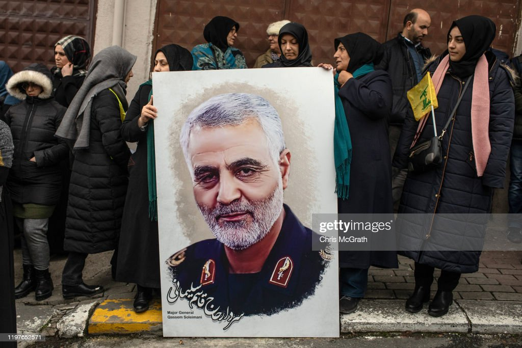 Protests At U.S. Consulate In Istanbul Following Killing Of Iranian General : ニュース写真