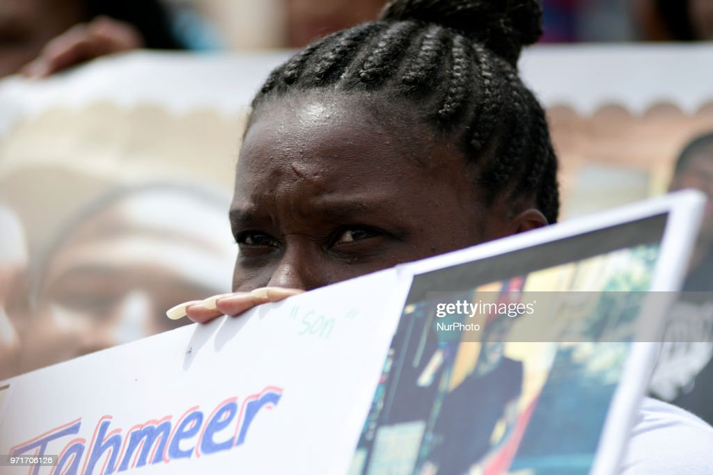 People hold signs at an anti gun violence rally on the Art Museum steps, in Philadelphia, PA, on June 11, 2018. The 3rd annual Fill the Steps Against Gun Violence gathering is to raise awareness on the deadly epidemic and is organized by columnist Helen Ubinas.