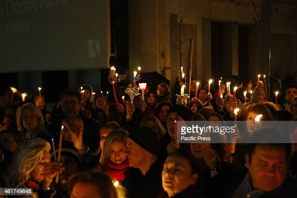 MUSEUM ATHENS ATTICA GREECE People hold up candles at the vigil for the return of the Elgin Marbles The Central Union of Municipalities called for a...