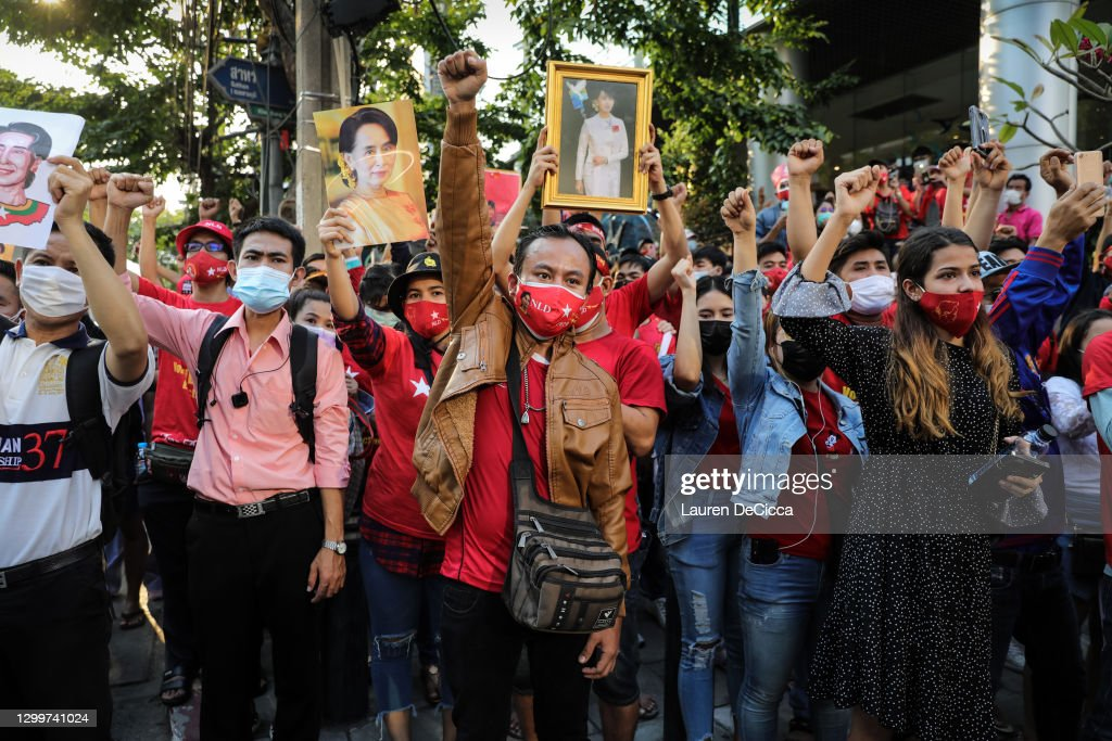 Protest At Myanmar Embassy In Bangkok After Coup : News Photo