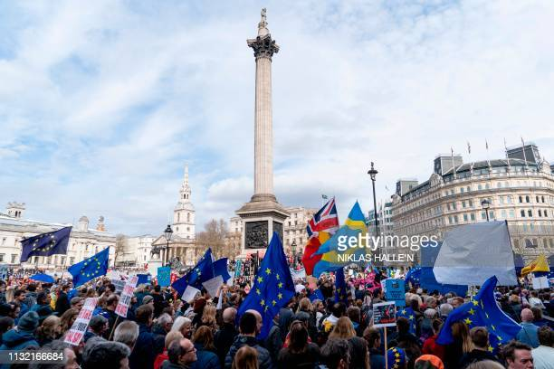 TOPSHOT People hold up placards and European Union flags as they pass Trafalgar Square on a march and rally organised by the proEuropean People's...