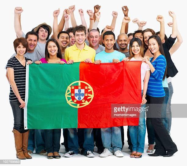 People holding flag
