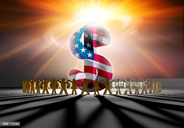 people holding hands around dollar sign - mike agliolo stock pictures, royalty-free photos & images