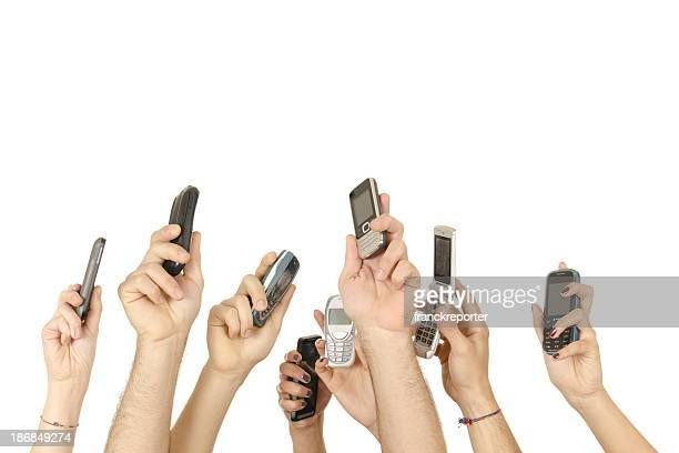 people holding mobile sharing on the net