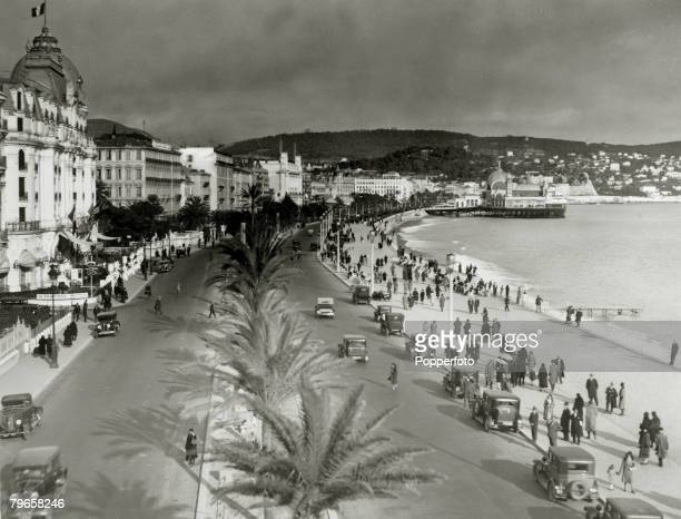 circa 1930 The scene at Nice on the French Riviera showing the Promenade Des Anglais
