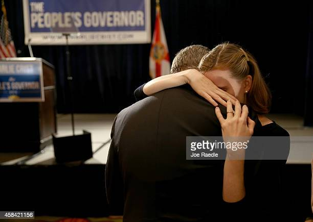 People hug after former Florida Governor and now Democratic gubernatorial candidate Charlie Crist conceded defeat during an election night party at...