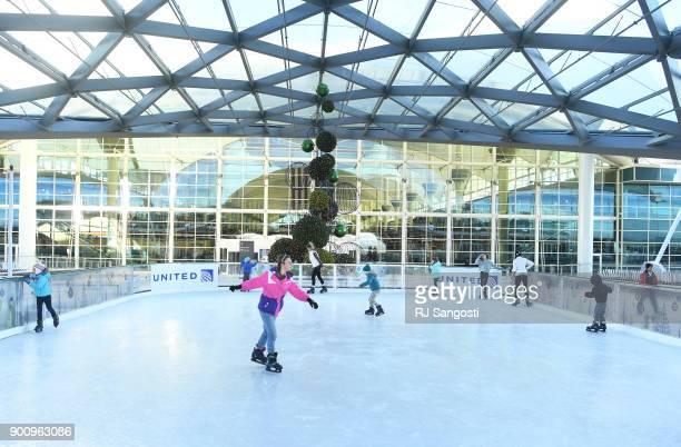 People ice skate at Denver International Airport on January 3 2018 in Denver Colorado