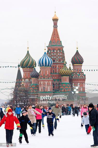 People ice skating in Red Square