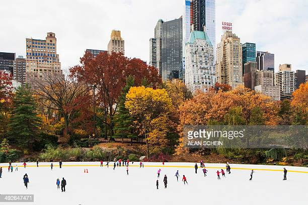 People ice skating, New York City, New York State, USA