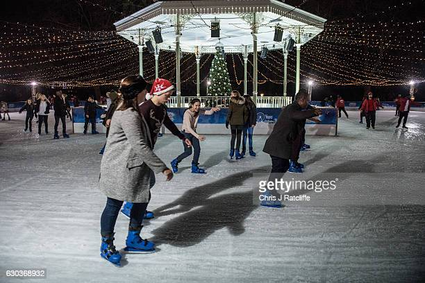 People ice stake at the Winter Wonderland in Hyde Park on December 21 2016 in London England Winter Wonderland is an annual event in London's Hyde...